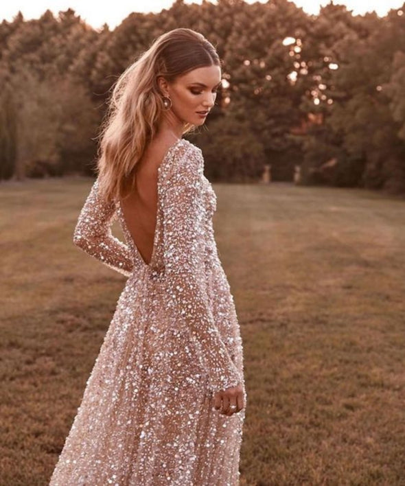 V Back Bling Bling Bohemian Wedding Dresses Illusion Sexy Luxury A Line Long Sleeves Noivas Bridal Gown DQG1179