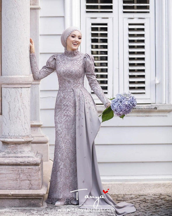 Lavender Muslim Wedding Dresses Long Sleeve Lace Pearls Elegant Bridal Gowns Abiti Da Sposa unique Engagement Dress TBW11