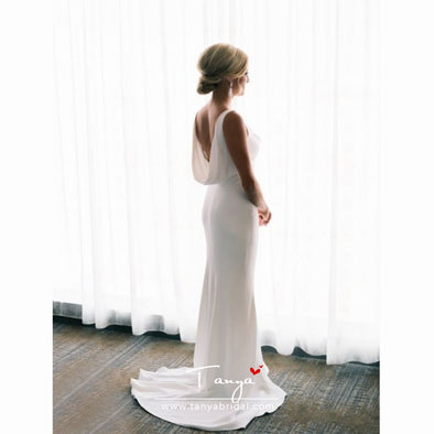 Simple Elegant Ivory Satin Mermaid Sleeveless Cowl Neckline Wedding Dresses