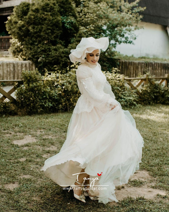 Flare Sleeves A Line Tulle Muslim Wedding Bridal Dresses DQG1106