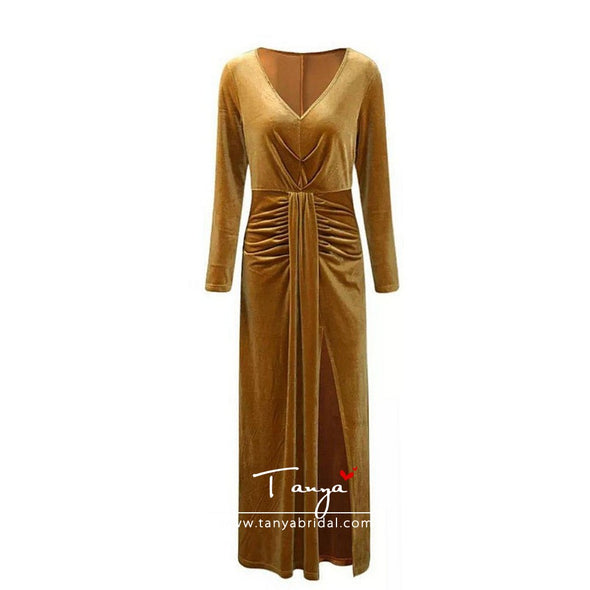 Long Sleeves Deep V Evening Dresses Gold Velvet High Side Split