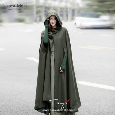 ArmyGreen Winter Hood Cape Floor Length Wrap women Cloak Long Wedding Cape DJ121