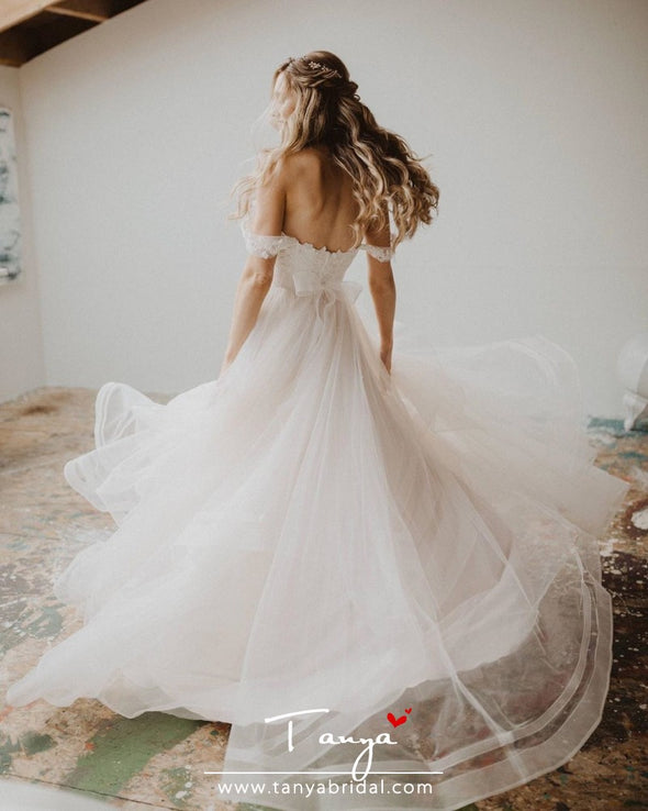 Ball Gown Off The Shoulder Short Sleeves Wedding Dresses TBW55