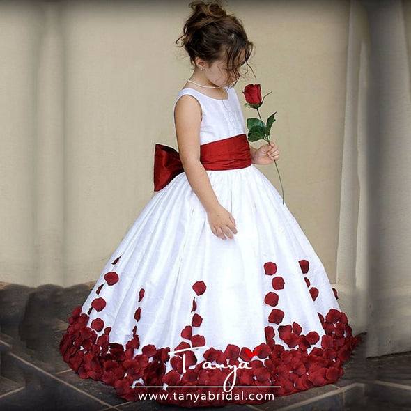 Flower Girl Dresses With Rose Petal TBF017