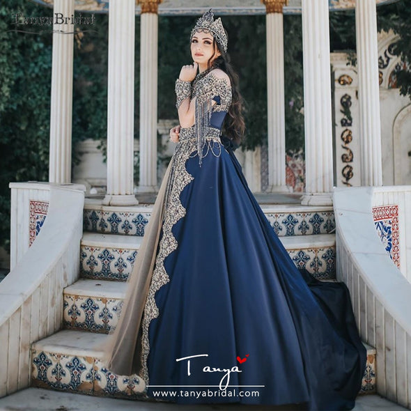 Dark Blue Luxury Wedding Dresses African Dubai Bridal Dresses Muslim Long Sleeve Gelinlink Noivas Beauty DW212