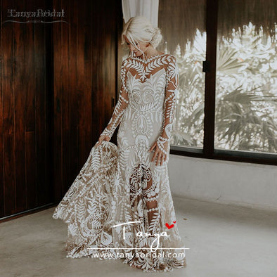 Dramatic Cornelli Lace Wedding Dresses Long Sleeve
