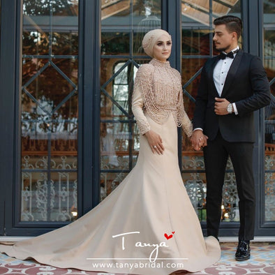 Champagne Muslim Wedding Dresses Mermaid Long Sleeve Beadings Bridal Gowns TBW13