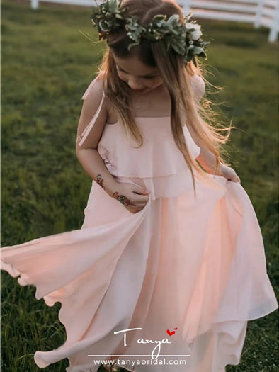 A-Line Strap Floor Length Chiffon Junior Bridesmaid Dress with Side Draping / First Communion