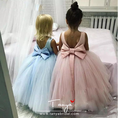 Girls Pageant Dress Bow Ribbon Floor Length Communion Party Gowns