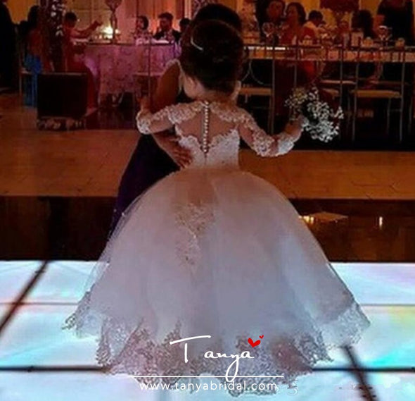 Princess Lace Half Sleeve Holy First Communion Gowns Party Pageant Dress For Girls TBF011