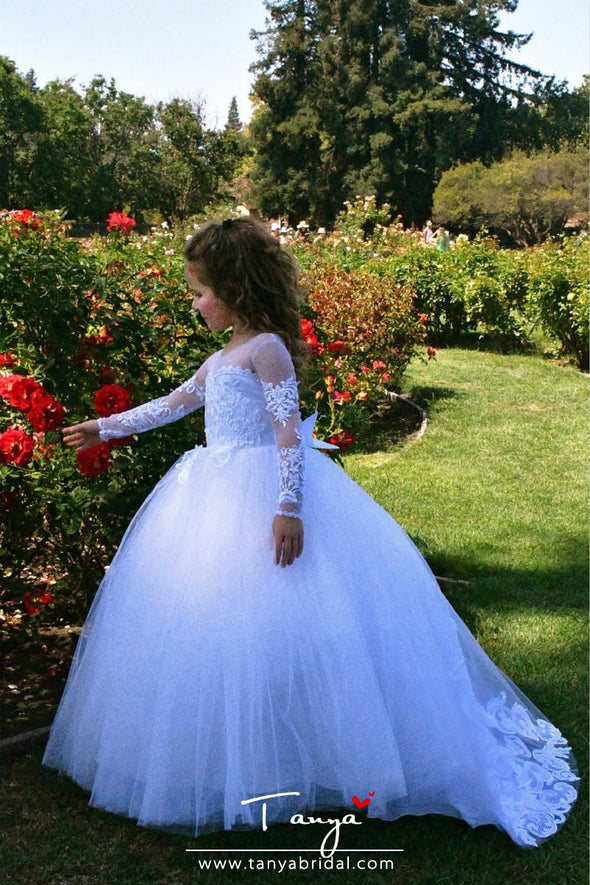 Ball Gown Sweep / Brush Train Wedding / First Communion / Pageant Flower Girl Dresses