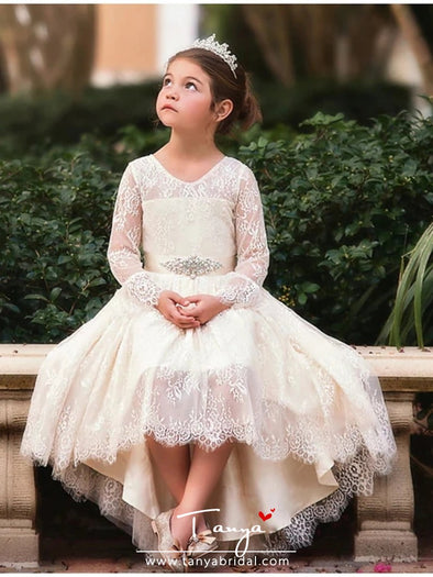 Ball Gown Asymmetrical Wedding Flower Girl Dresses Lace Long Sleeve V Neck with Bow