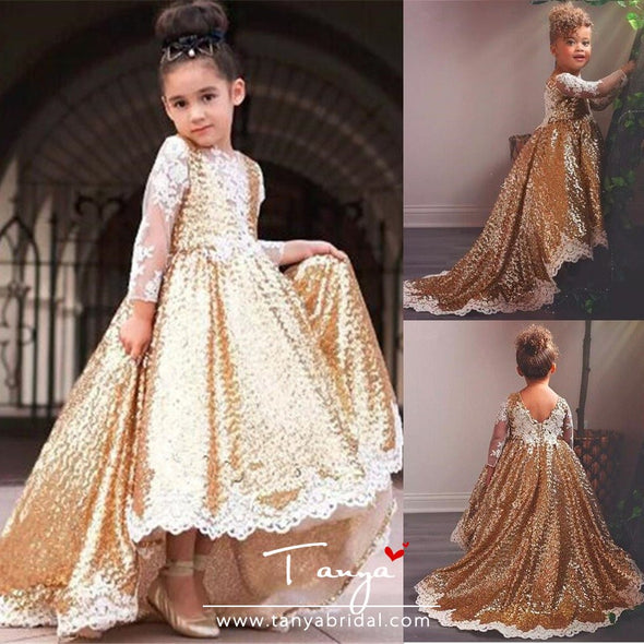 Gold Sequined Flower Girl Dresses For Wedding Lace Long Sleeves High Low Toddler Pageant Gowns TBF08