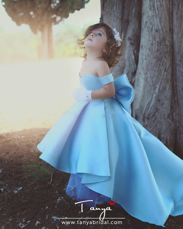 Formal Lolita Flower Girl Dresses Light Blue Ball Gown TBF07