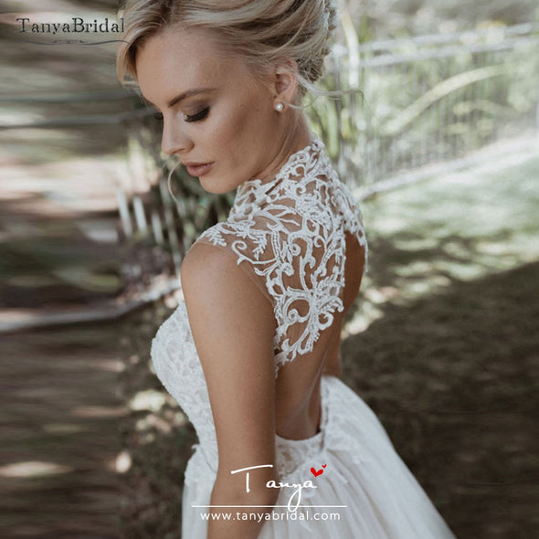 High Neck Lace Wedding Dresses Mermaid Beaded Luxury Bridal Gowns With Detachable Skirt DW206