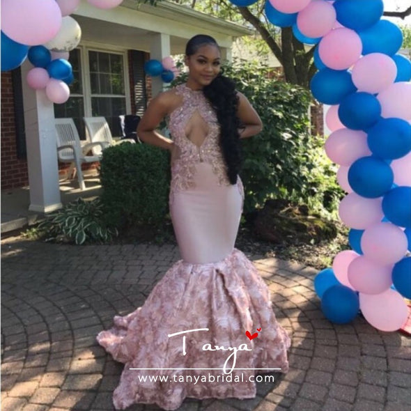 Sexy Black Girls Mermaid High Neck Dusty Pink Prom Dresses 2019