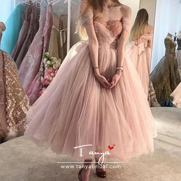 Blush Pink Prom Dresses 2019 Ball Gown Tulle Party Dress