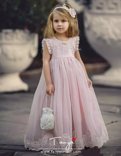 Light Pink New Flower Girl Dresses for Wedding With Applique TBF026
