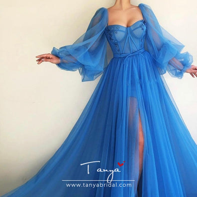 Long Puffy Sleeve Blue Prom Dresses Tulle Backless Lacing Evening Gowns Evening Party Gown Robe De Soiree Plus Size