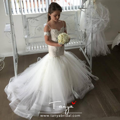Lovely Mermaid Tulle Flower Girl Dresses Spaghetti Strap Lace Button Back TBF03