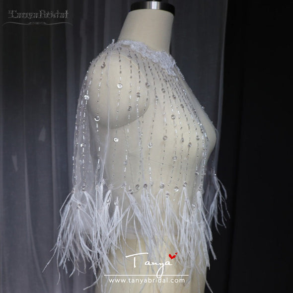 Luxury Beaded Feather Wedding Cape Short Bolero Gorgeous Bridal Cape Vestido de Noivas Accessories wrap DJ120