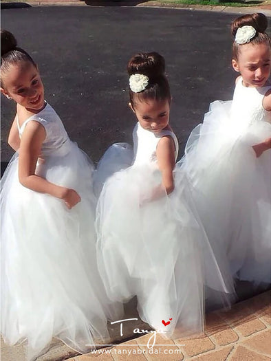 A-Line Floor Length Wedding / First Communion Flower Girl Dresses - Lace / Satin / Tulle Sleeveless Jewel Neck