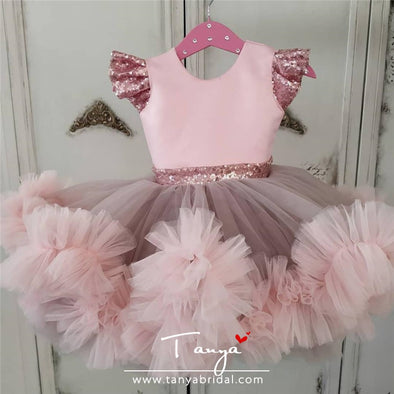 Light Pink New Flower Girl Dresses for Wedding With Applique TBF027