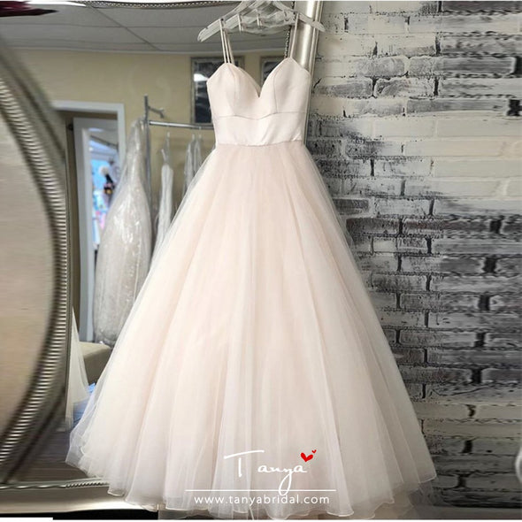 New Spaghetti Strap Beach Wedding Dresses 2019 Vestido Noiva Praia Simple White Ivory Tulle Casamento Bridal Gown