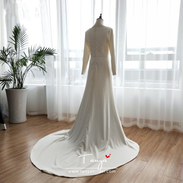 Scoop Neck Mermaid Wedding Dresses Harry and Meghan's wedding Gowns Long Sleeve elegant Simple abiti a sposa ZW050