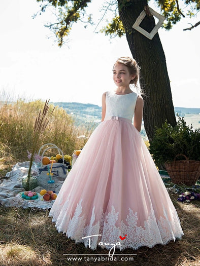Tulle / Cotton Sleeveless Jewel Neck with Lace / Belt / Appliques Flower Girl Dresses