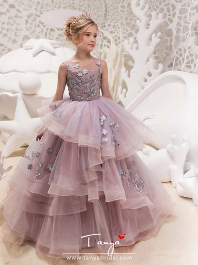 Lace / Organza / Tulle Jewel Neck Princess Maxi Party / Birthday / Pageant Flower Girl Dresses