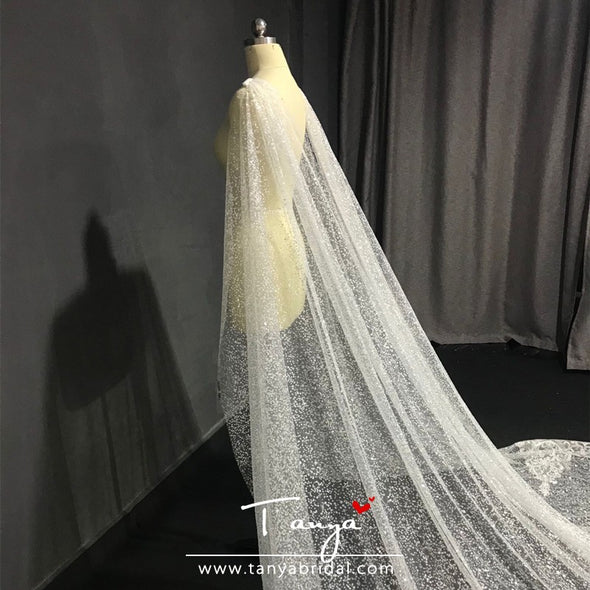 Long Train Bling Bling Lace Wedding Cape With Lace Edge DQG1200