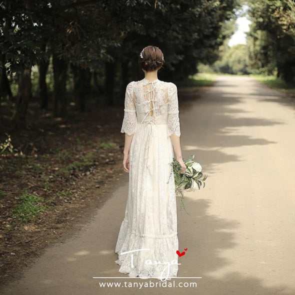 Bohemian Long Lace Wedding Dresses TT306