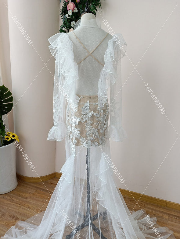 See Through Ruff V-Neck Bridal Gowns Summer Beach Vestido De Noivas DW159