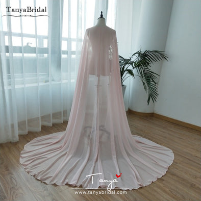 Pink Chiffon Wedding Boleros Custom made Lady Wedding Accessories COSPLAY Shurgs Shawls DJ051