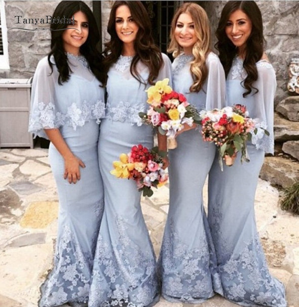 Mermaid Long Silvery Bridesmaid Dresses Lace Sequins Wedding Guest Dress