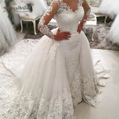Detachable Skirt Wedding Dress Backless Saudi Arabia Bridal Wedding Gowns Dubai Luxury Sleeve Mermaid Vestido De Noiva SS121