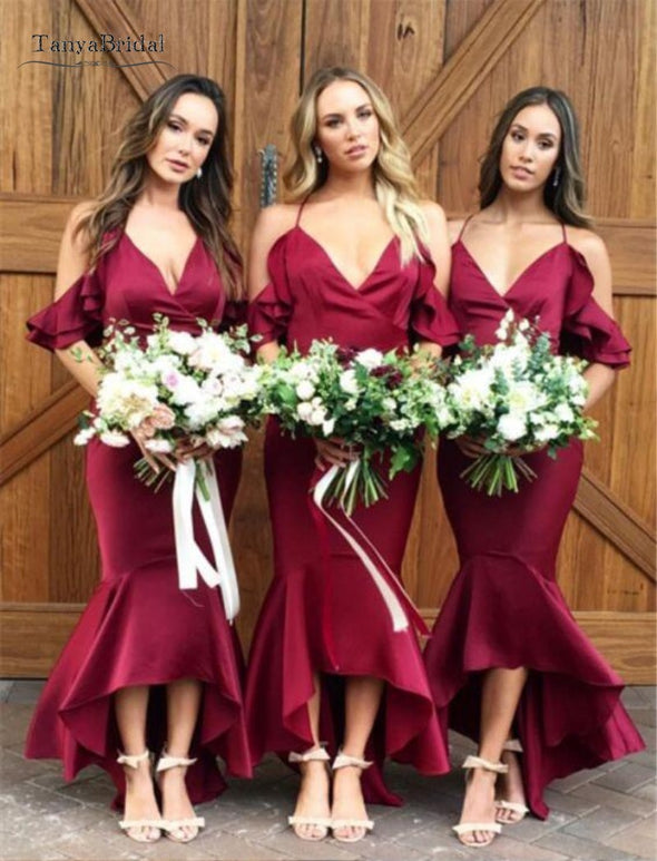 Mermaid Cold Shoulder Burgundy Bridesmaid Dresses With Ruffles