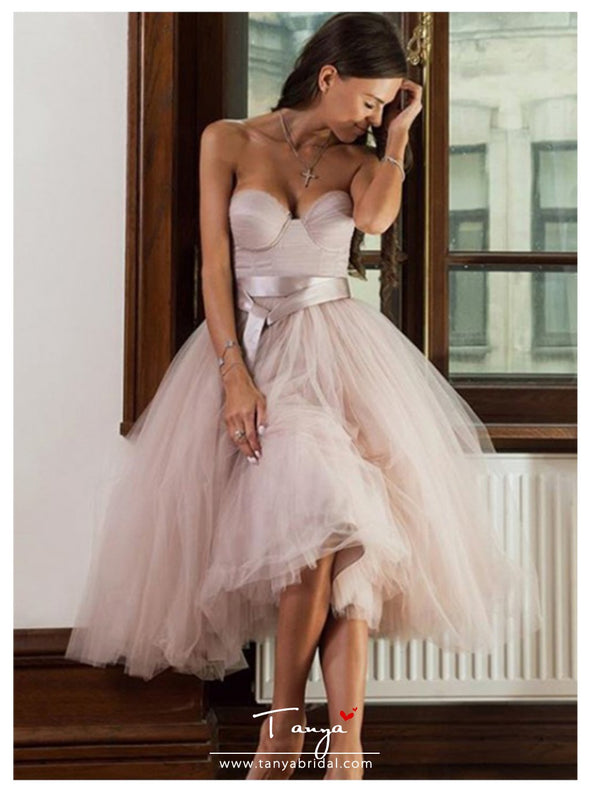 Short Informal Strapless Wedding Dress Beach Bride Dress Knee Length Hot Sale Pink Tulle Wedding Gowns
