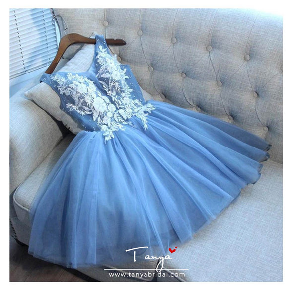 Sky Blue Short Bridesmaid Dresses Appliques Lace Top Mini Party Gowns Above Knee