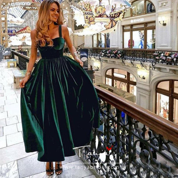Tea Length Dark Green Prom Dresses Spaghetti Straps Vestido De Festa Simple Formal Party Gowns Special Occasion Prom Gowns SPF002