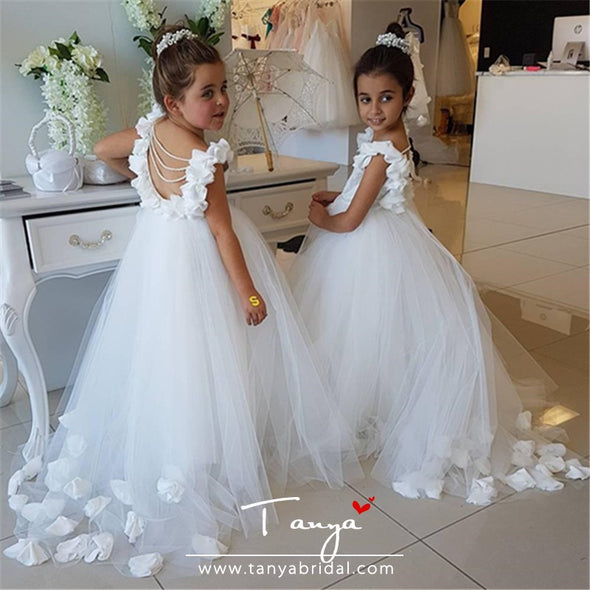 White/Ivory First Communion Dresses Pageant Flower Girl Dresses for Weddings