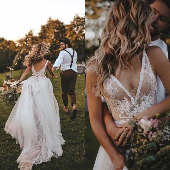 Bohemian V Neck Illusion A Line Wedding Dresses 06021642