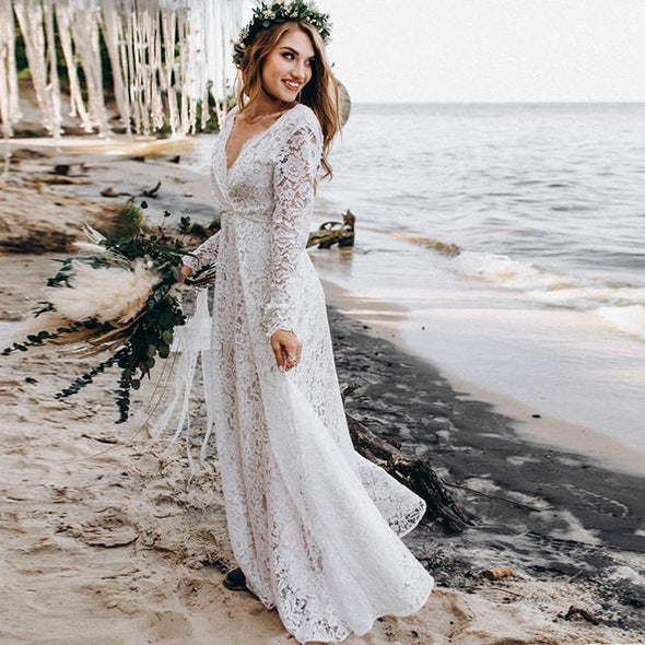 Hippie Lace Boho Wedding Dress V Neck Long Sleeves