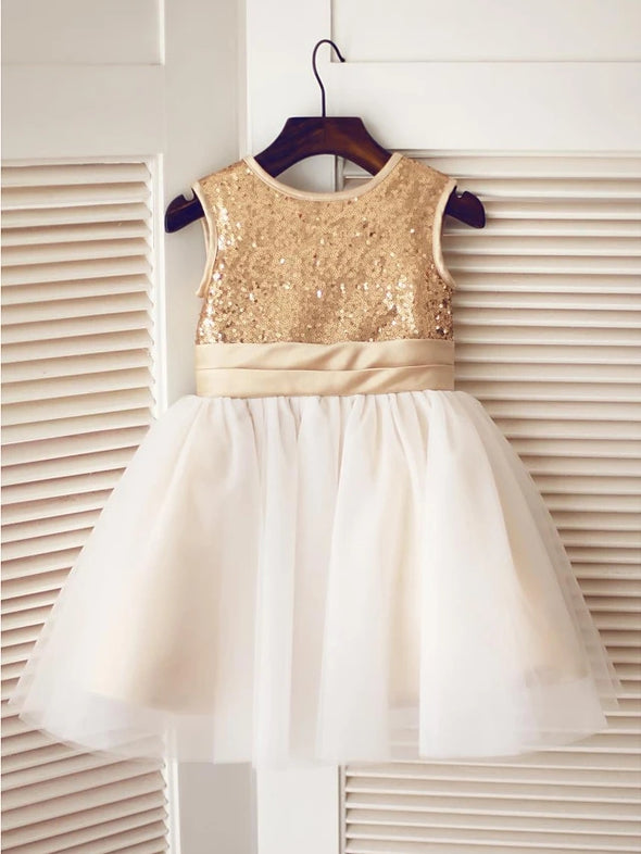 A-Line Knee Length Pageant Flower Girl Dresses