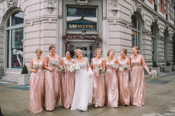 Rose gold bridesmaid dress / 'Rosie' / Sequin bridesmaid dress / Wedding party / Blush bridesmaids / Flattering sparkle / All Sizes