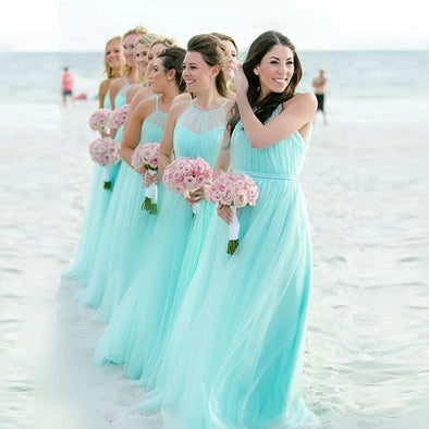 Light Turquoise Long Halter A Line Bridesmaid Dresses