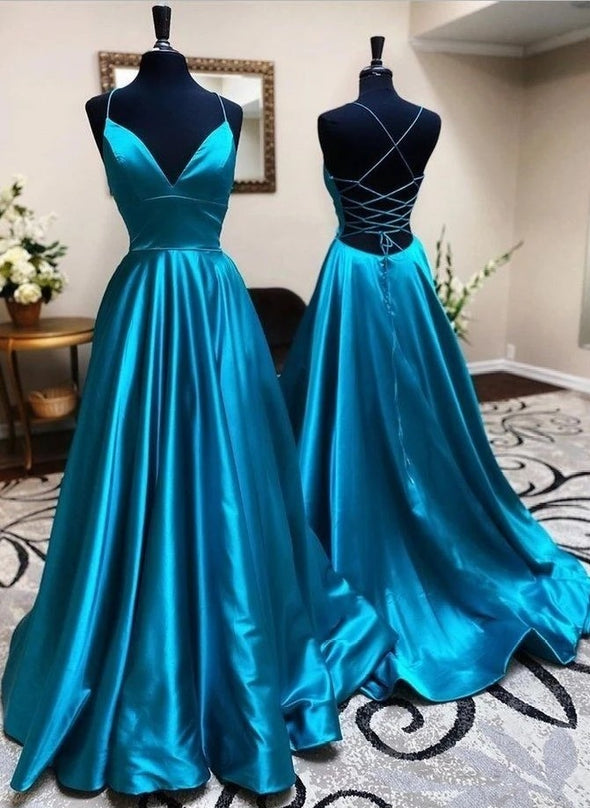 V Neck A Line Lace Up Long Prom Dresses Silk Satin Formal Gown