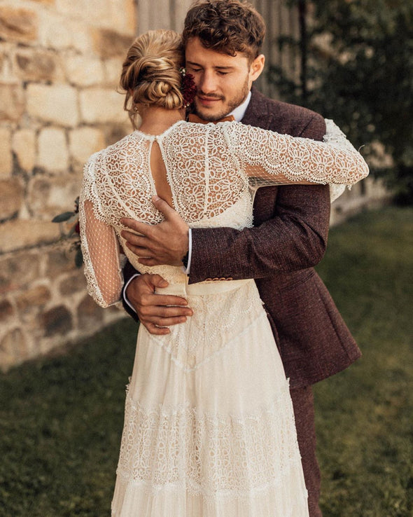 Long Sleeves Lace Wedding Dresses Bohemian Bridal Gown