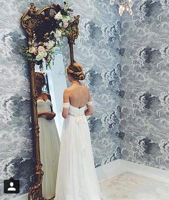 White Beach Wedding Dresses A-Line with Beaded Waist